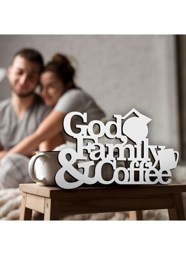 Artikel Renkli 30X20Cm God Family & Coffee Mdf Dekoratif Duvar Yazısı Renkli